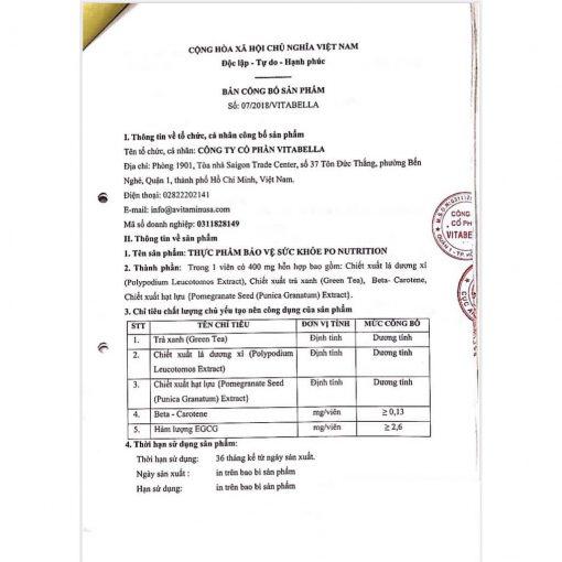 Viên uống chống nắng Sunsafe Po đăng ký sản phẩm